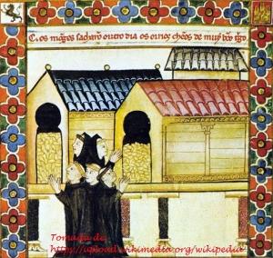 Cantigas de Santa María. Fotografía recuperada de https://upload.wikimedia.org/wikipedia/commons/6/69/Cantiga_de_Santa_Maria_CLXXXVI_-_Horreos.jpeg
